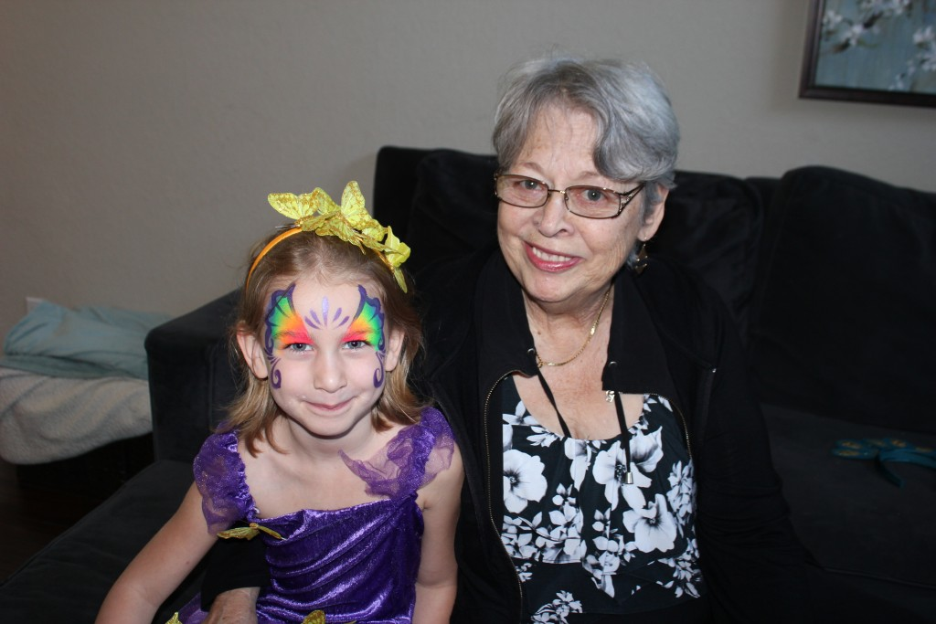 Rainbow Magic face paint =)  Grandma and I had ours painted later too =)