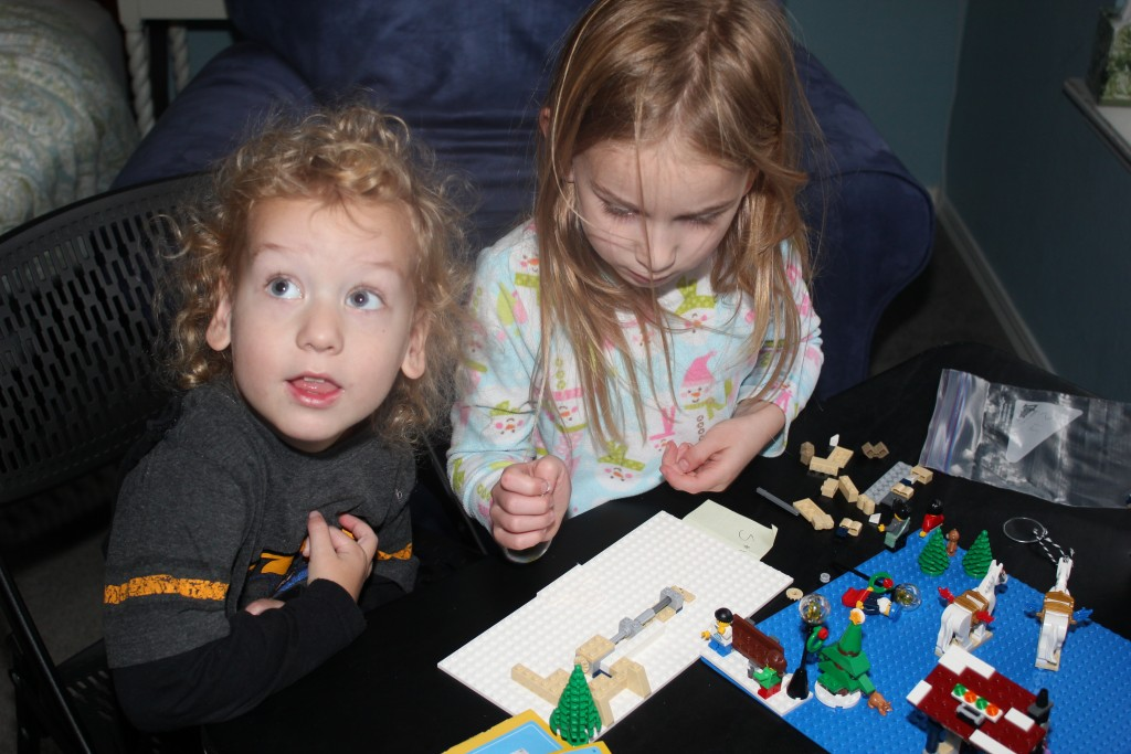 Working on our Lego Advent Calendar