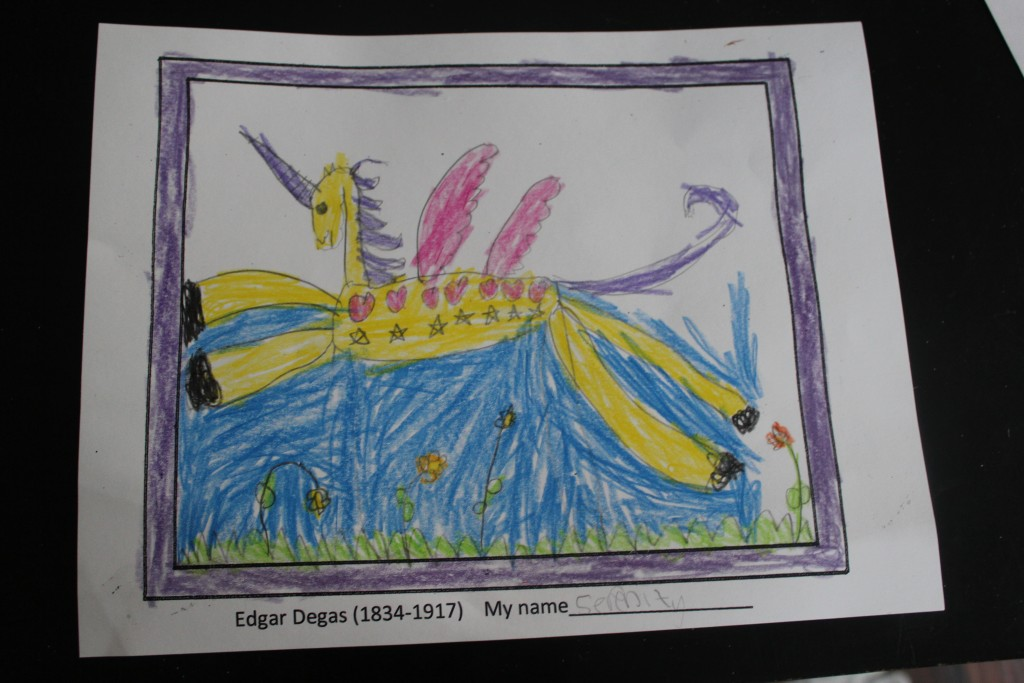 My favorite drawing she brought home from school =)  She did similar magical ponies in several color schemes.