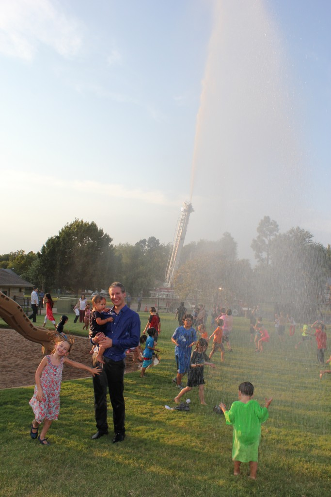 Back to school picnic.  A fire truck came to spray the kids!
