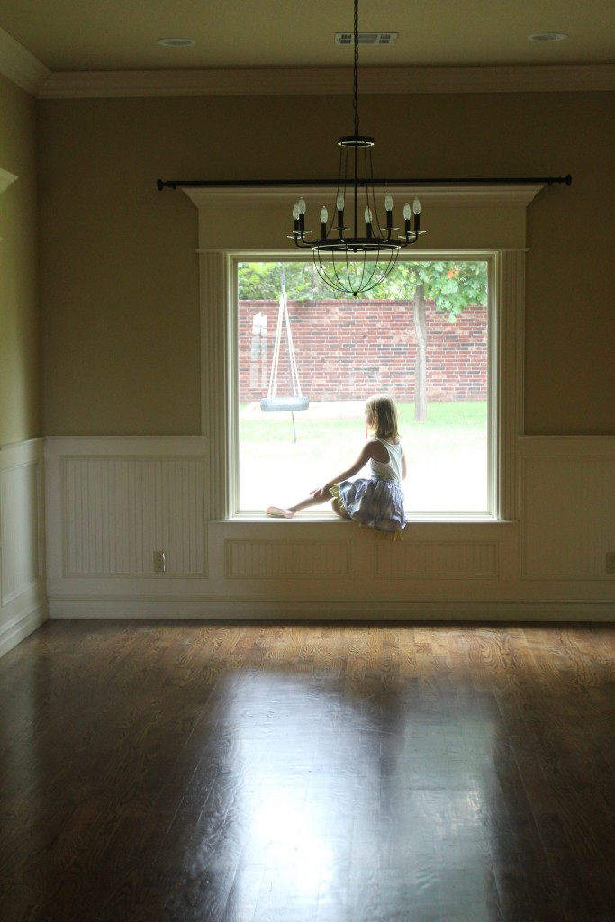 In our new house.  She loves windowsills =)  I love this picture =)