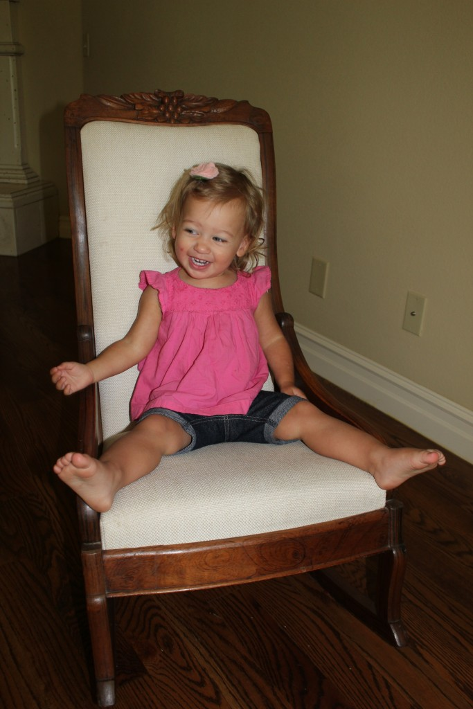 Maia in the rocking chair!  Can you believe how big she is now!?!