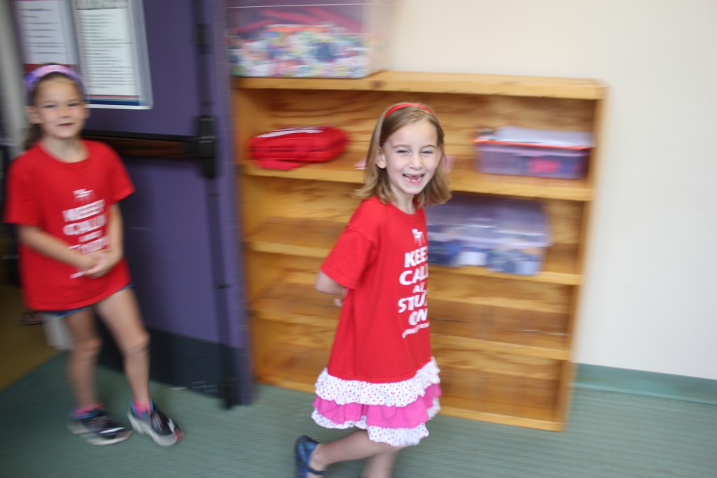 Dressed in red for the National Anthem day at school