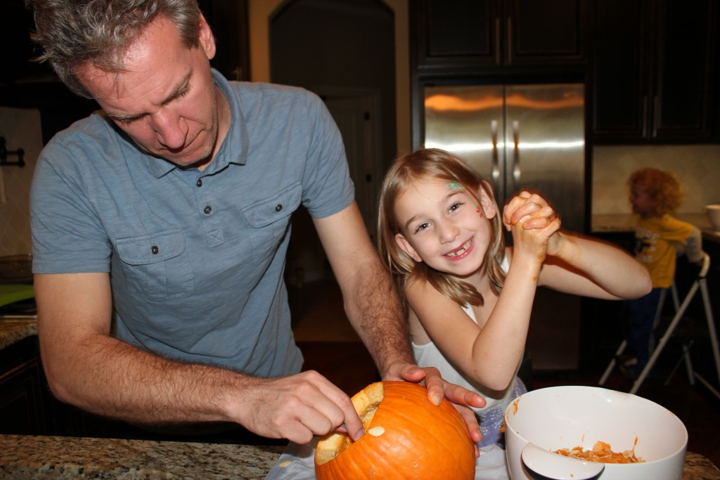 Goooey fun =) She didn't want to carve until she saw DZ do it =)