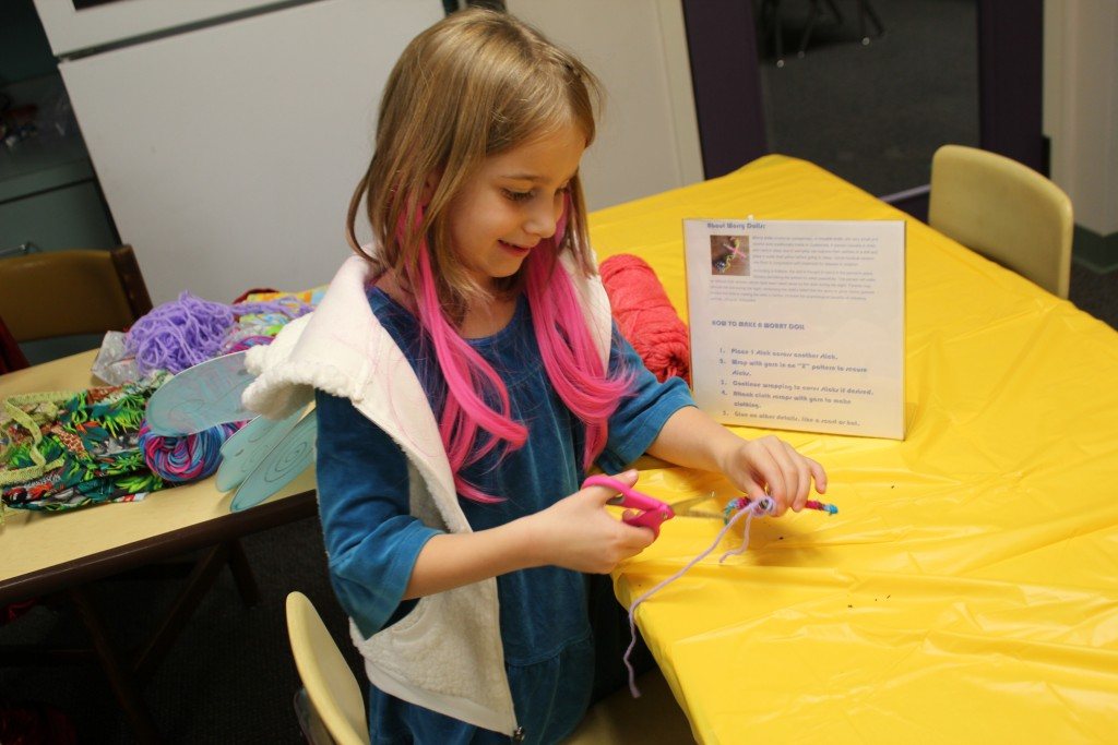 Making worry dolls at the Halloween Carnival =)