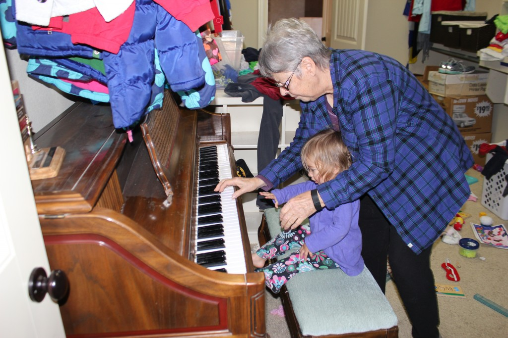 """She sang along with Mom's piano playing =)  She calls her """"Gra'mba"""" =)"""