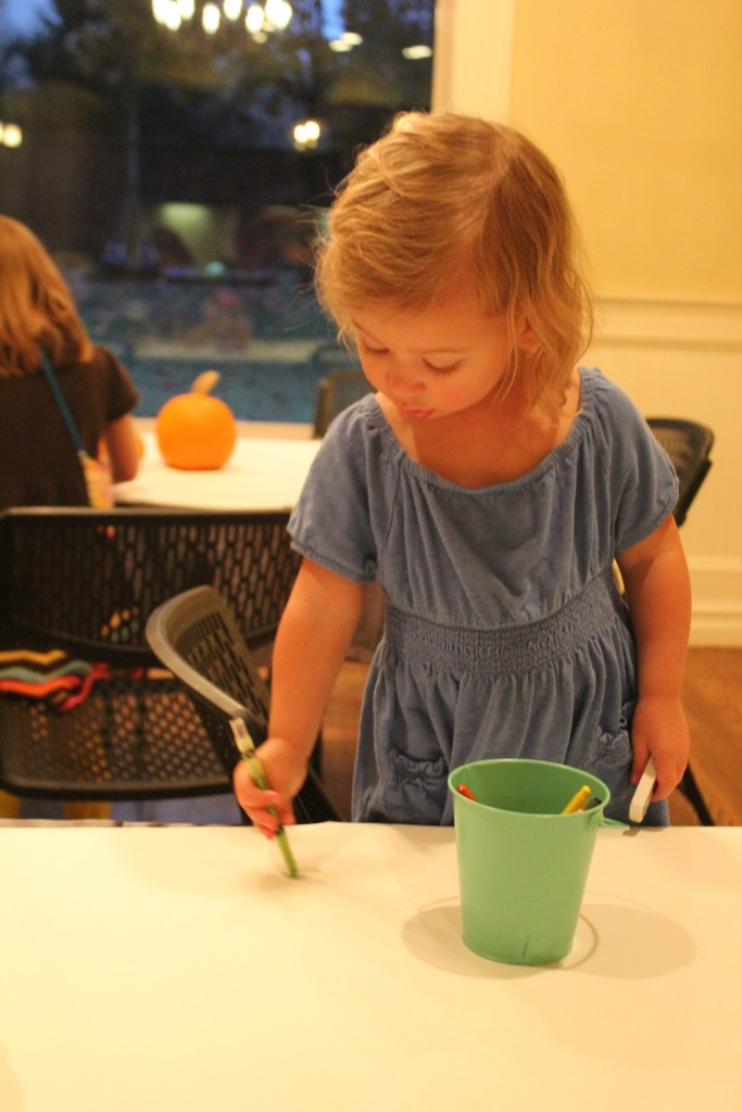 Maia loves coloring, markers and do-a-dots!  She colors on herself a lot.