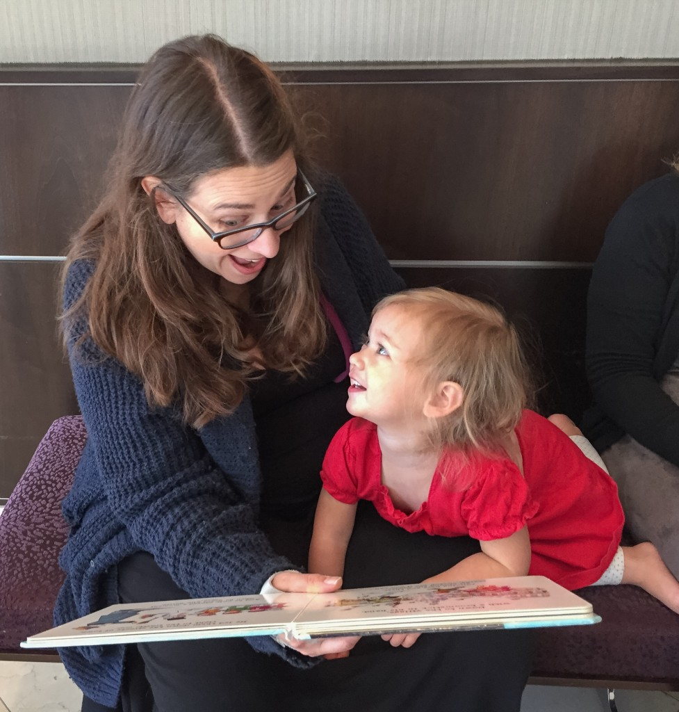 I love this pic Kelly took of us! Reading Frosty. For the 100th time and she still loves it =)