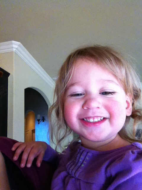 We do selfies a lot now, since a day that Aunt Jen babysat her.  She loves it!