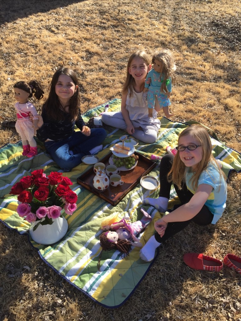 One day I was really sick, and my sweet friend picked Serenity up from school and suggested an American Girl Tea Party!  They had such fun!