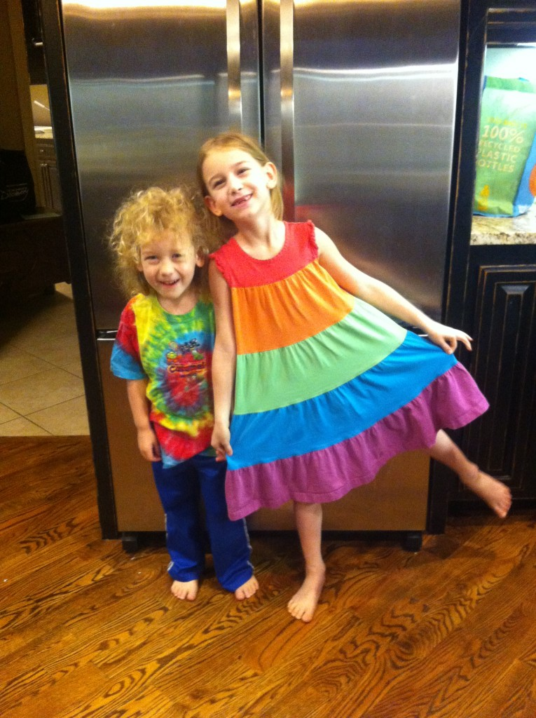 All ready for Tie Dye Tuesday at the book fair... until we discovered Serenity had pink eye and needed to stay home.