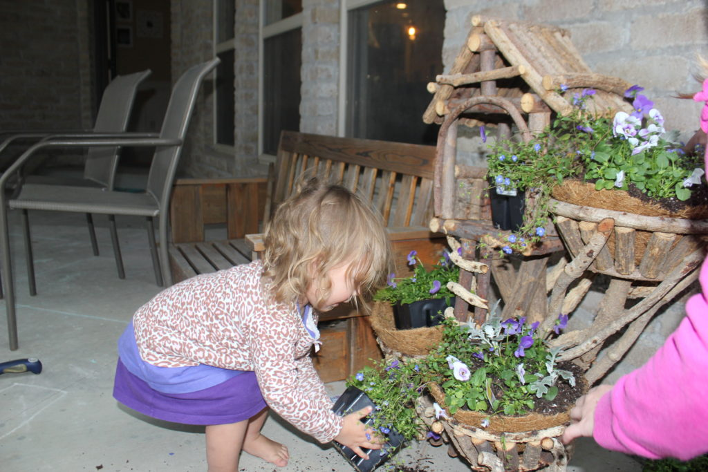 Maia helped plant flowers in the fairy planter... and then we went to Cali and let them all wither....