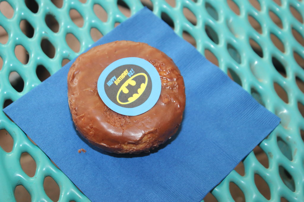 Donovan's birthday treats =)  Chocolate donuts with batman =)