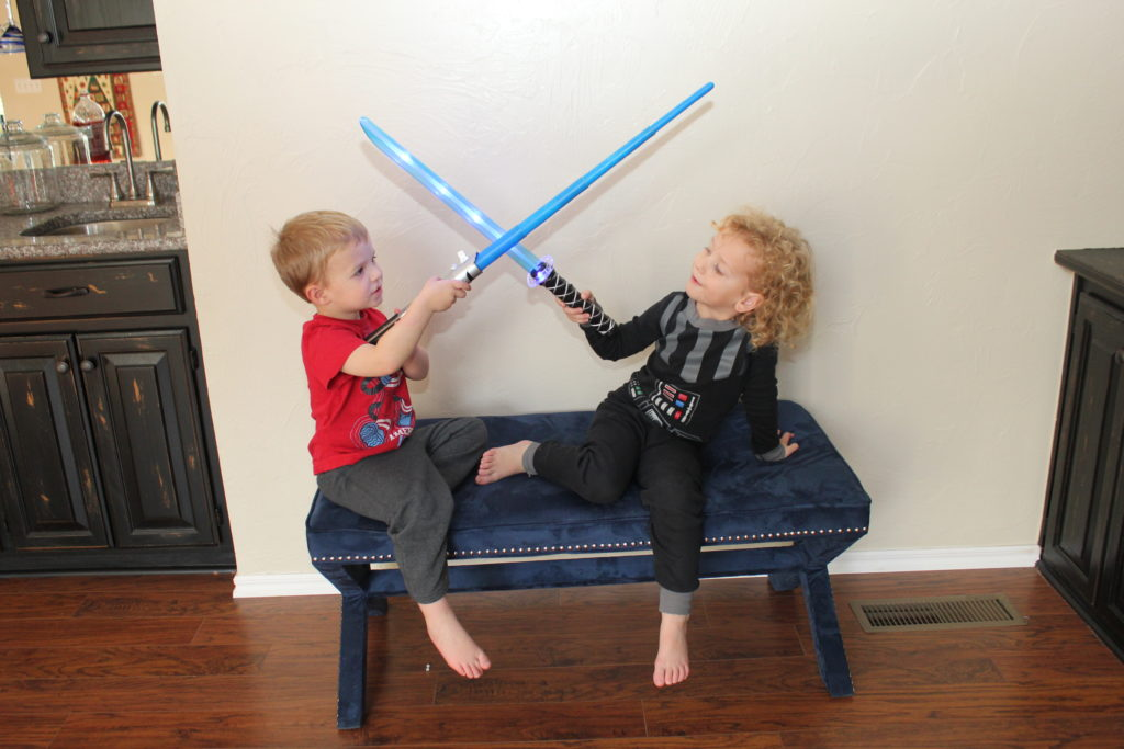 Darth Vadey was a big hit this year. And no, I didn't misspell it, that's what DZ calls him.  He loved lightsaber time with his buddy Everett!