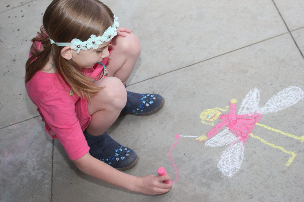 March 2016, coloring with sidewalk chalk from Easter.  I love this fairy =)