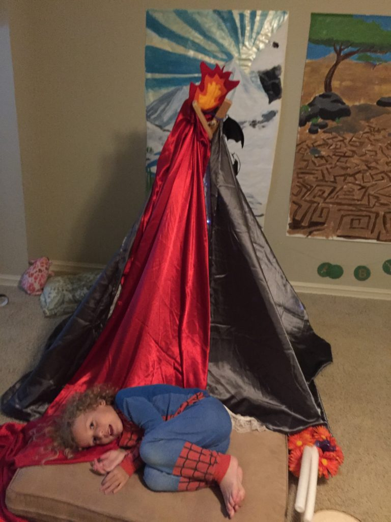 The kids have made new dens nearly every night this week =) DZ made this volcano den =)