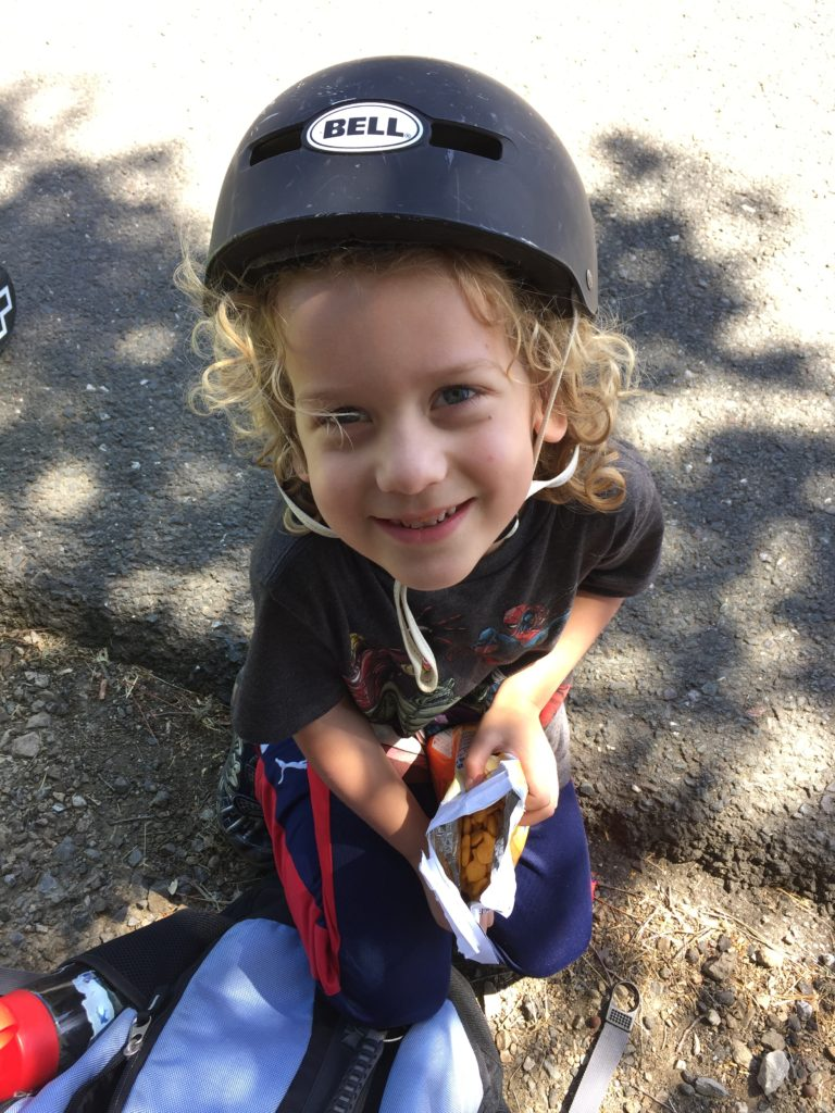 He rode a bicycle with training wheels at Jack's birthday, and loved it!
