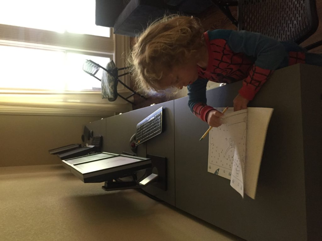 He was thrilled when we got the new computer desks for the living room, and claimed one for his own to do homework! He has been very concerned about where he would do his homework, since Serenity always did hers at the desk in the kitchen. Problem solved!