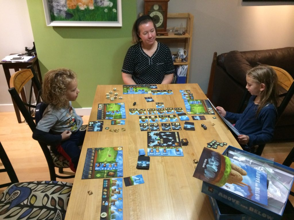 Serenity narrating Above and Below.  The kids (including Eric) love the game so much Tina and Colen loaned it to us.