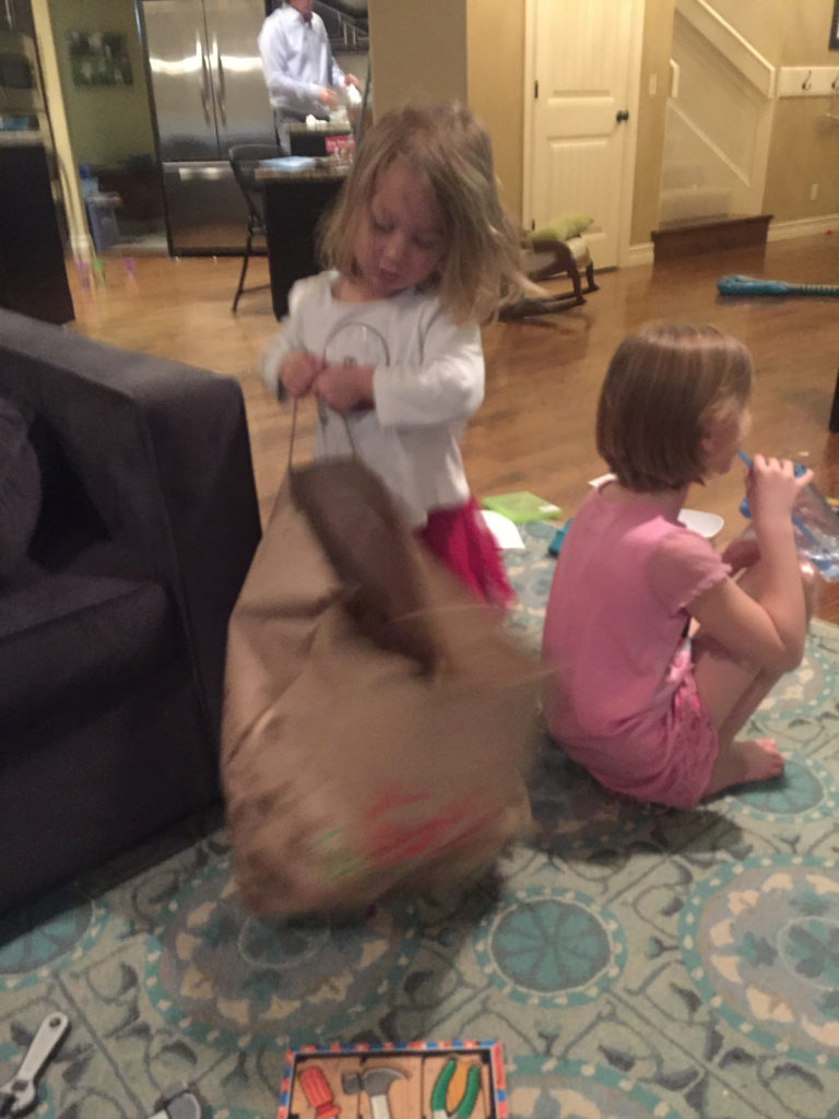 Maia dragged around this giant bag of leftover chips for two days =)  We ate more than I thought we would!